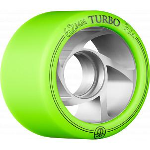 Rollerbones Turbo Wheel Clear Aluminum Hub 62mm 97a Right 4pk Green