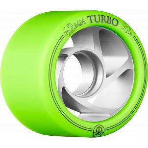 Rollerbones Turbo Wheel Clear Aluminum Hub 62mm 97A Left 4pk Green
