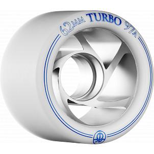 Rollerbones Turbo Wheel Clear Aluminum Hub 62mm 97a Left 4pk White