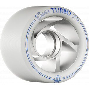 Rollerbones Turbo Wheel Clear Aluminum Hub 62mm 97a Right 4pk White