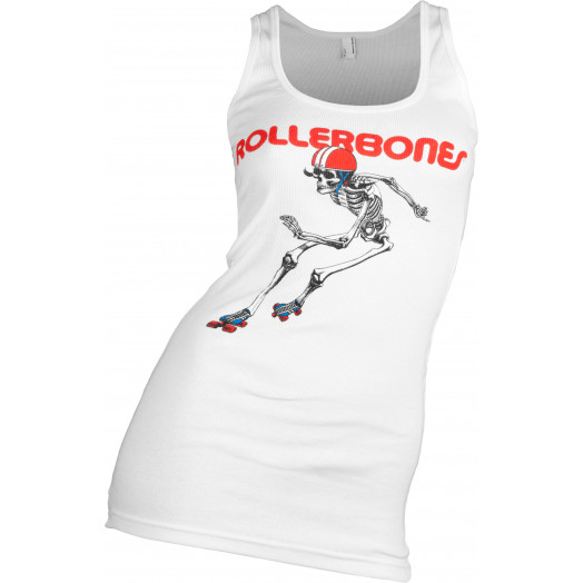 Rollerbones Woman's Derby Skeleton Tank Top White